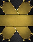 Black Background with two intersecting plate and a gold trim — Stock Photo