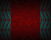 Red background with blue patterns on the edges. — Stock Photo