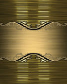 Gold background with a gold name plate with patterns on the edges — Stock Photo