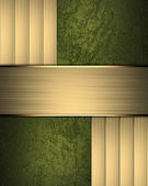 Green texture with gold inlays and gold plate — Stock Photo