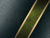 Blue abstract texture with green cutout, with gold ribbon — Стоковое фото