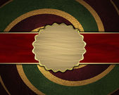 Red-green texture with golden spiral and gold nameplate — Stock Photo