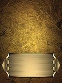Gold Background with gold plate and a beautiful gold trim — Stock Photo