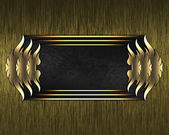 Gold Background with black plate and a beautiful gold trim — Stock Photo