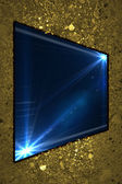 Old gold wall with blue name plate with Rays blue of light — Stock fotografie