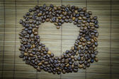 Heart coffee frame made of coffee beans — Stock fotografie