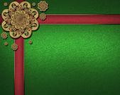 Texture vert avec l'archet d'or et des plaques rouges. — Photo