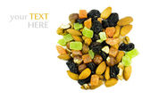 Nuts and dried fruit isolated on white. — Stock Photo
