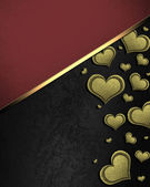 Golden hearts on a black background, with a red nameplate — Stock Photo