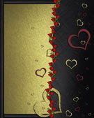 Beautiful texture with red and gold hearts. valentine's day — Stock Photo