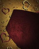 Vacker textur med rött och guld hjärtan. alla hjärtans dag — Stockfoto