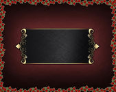 Red texture with roses around the edges and black nameplate — Stock Photo