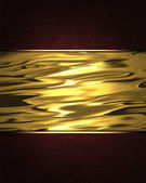 Red Background with abstract gold nameplate, and gold trim — Stok fotoğraf