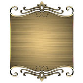 Gold nameplate with gold ornate edges, isolated on white background — Stock Photo