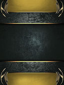 Black rich texture with gold edges and gold trim and blue plate — Stock Photo