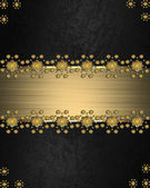 Black Background with abstract plant pattern and gold nameplate. — Stock Photo
