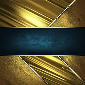 Blue ribbon with abstract gold plate and gold trim — Stock Photo