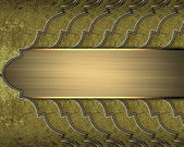 Gold braided texture with golden edges and gold nameplate — Stock Photo