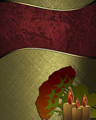Gold texture with the red nameplate, and roses below — Stock Photo