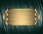 Green texture with gold nameplate and gold trim — Stock Photo