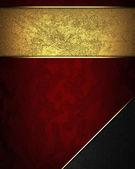 Red texture with gold nameplate and with black corner — Stock Photo
