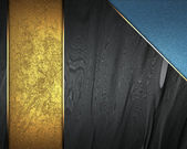 Black texture with gold nameplate and with blue corner — Stock Photo