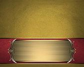 ゴールドの華やかなエッジを持つ美しい金の名前プレート付けゴールドのテクスチャ — ストック写真
