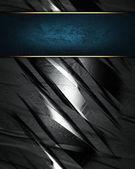 Kovový textury s modrou štítku pro text — Stock fotografie