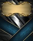 Textura de metal com fita azul e ouro placa de nome com bordas ornamentadas de ouro — Fotografia Stock