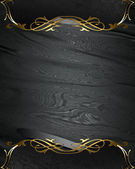 Black rich texture with black edges and gold trim — Stock Photo