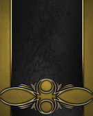 Gold texture with black name plate with gold ornate edges — Stock Photo