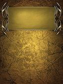 Placa de nome ouro com bordas ornadas ouro, sobre fundo dourado — Fotografia Stock