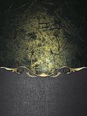 Mörk grunge bakgrund med järn kant och guld trim — Stockfoto