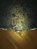Mörk grunge bakgrund med guld kant och guld trim — Stockfoto