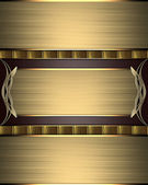 Gold texture with gold ribbons, with nameplate and gold trim — Stock Photo