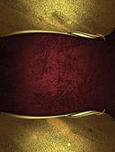 Röd rik konsistens med gyllene kanter och guld trim — Stockfoto
