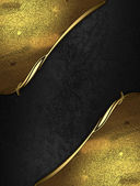 Black rich texture with golden edges and gold trim — Stock Photo