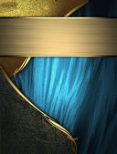 Blue texture with golden edges with black and gold trim — Stock Photo