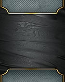 Black rich texture with grey edges and gold trim — Stock Photo