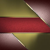 Gold texture with brown edges and gold trim with red name plate — Stock Photo