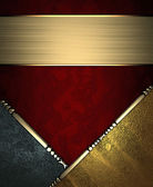 Red rich texture with black and gold corners and gold nameplate — Stock Photo