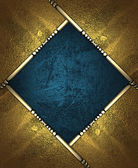 Blue rich texture, with gold corners and gold trim — Stock Photo