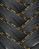Design template - Black ribbons with gold ornate edges — Stock Photo