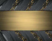 Black ribbons with gold ornate edges with gold nameplate — Stock Photo