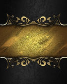 Design template - Black texture with gold edges and dark trim — Stock Photo