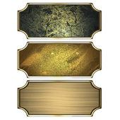 Three gold frames isolated on white background — Stock Photo
