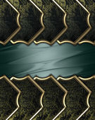 Green background with black plates and gold trim around the edges — Stock Photo