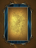 Design template - Yellow texture with gold plate and gold ornament — Stock Photo