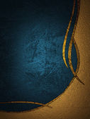 Gold and blue texture with golden ornaments — Stock Photo
