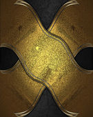 Gold plate with gold ornate edges, on black background — Stock Photo